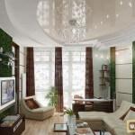 Гипсокартонные потолки в зале: объемная роспись, использование светильников