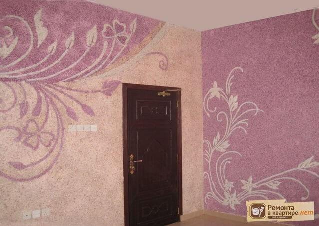 фото комнаты с жидкими обоями
