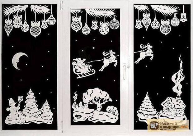 Новогоднее оформление окон из бумаги своими руками