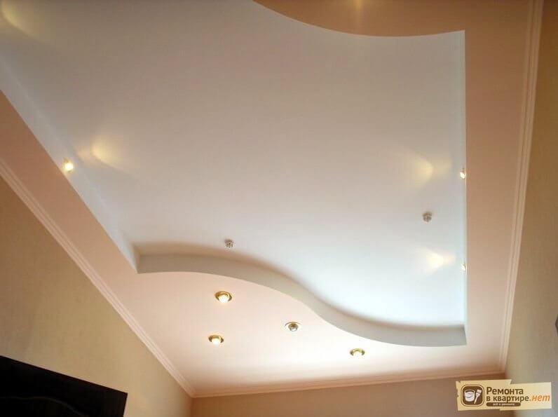 фото из гипсокартона двухуровневых потолков