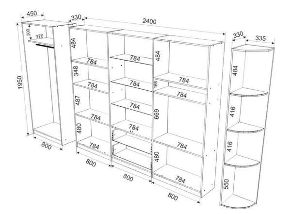 Внутреннее устройство корпусного шкафа-купе