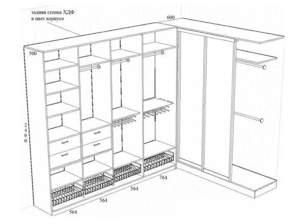 Схема устройства корпусного шкафа-купе
