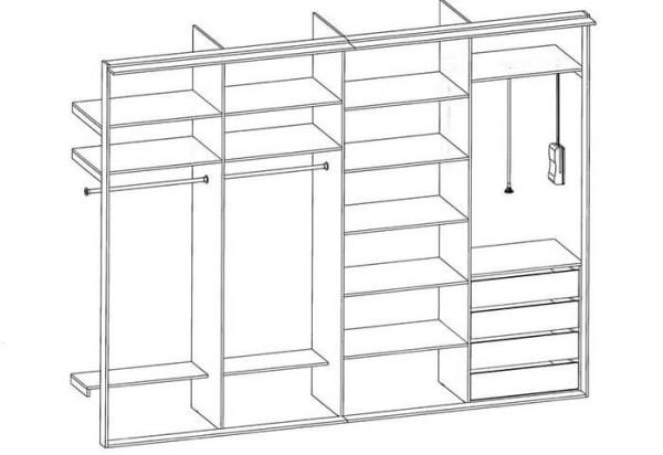 Схема конструкции встраиваемого шкафа-купе