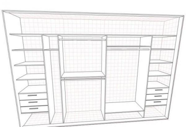 Схема конструкции встроенного шкафа-купе