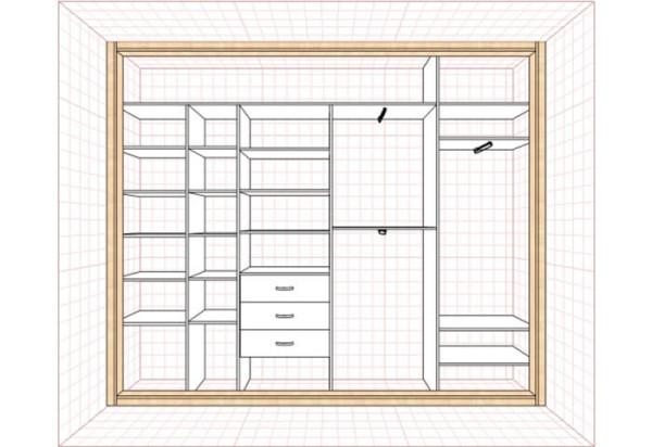 Схема внутреннего устройства шкафов-купе