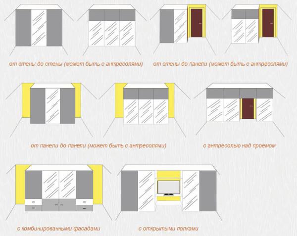 Схемы прямых шкафов-купе