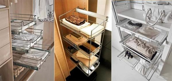 Фото устройства шкафа купе внутри с корзинами
