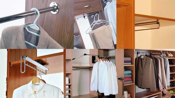 Фото внутреннего устройства шкафа купе со штангами