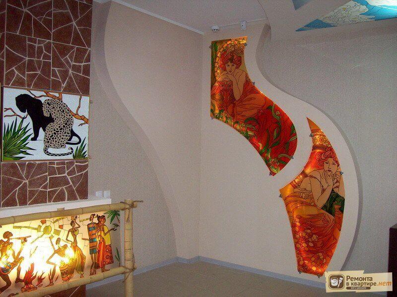 Декор стены из гипсокартона фото