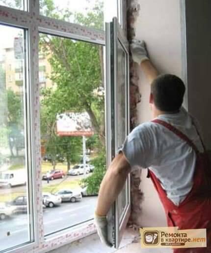 Установка сэндвич откосов окна