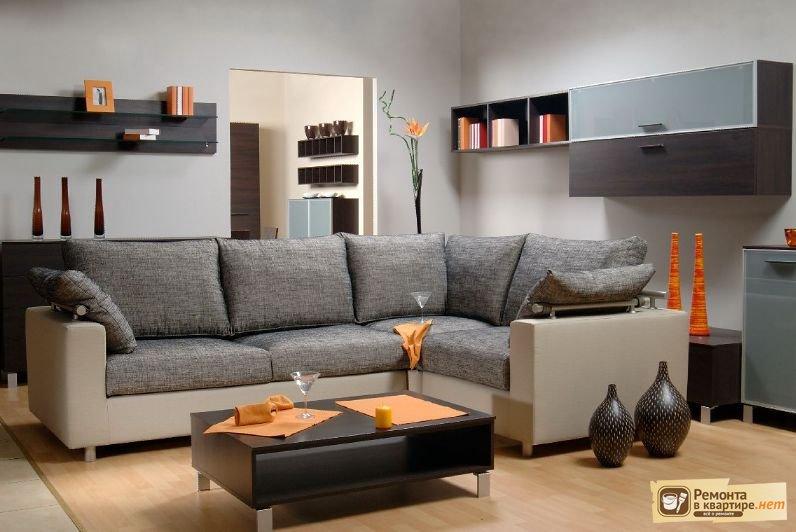 интерьер зала с угловым диваном фото