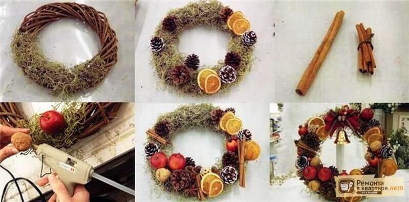 Как делать венки на новый год своими руками